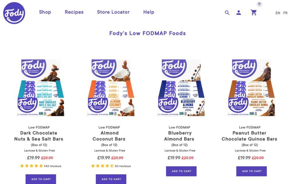 Low FODMAP produkty Fody